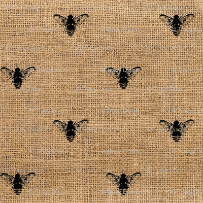 Bees Wide on Burlap