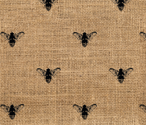 Bees Wide on Burlap fabric by tracy_dixon on Spoonflower - custom fabric