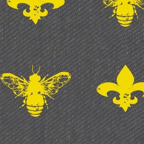 Fleur de Bees Gold and Grey