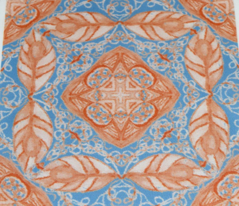 Old Fashioned Faux Carpet in Blue and Beige