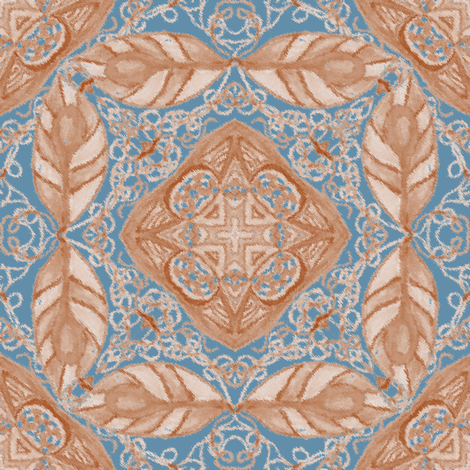 Old Fashioned Faux Carpet in Blue and Beige fabric by eclectic_house on Spoonflower - custom fabric