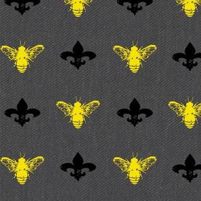 Fleur de Bees Gold, Black and Grey