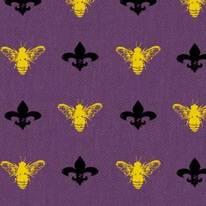 Fleur de Bees black, gold and purple