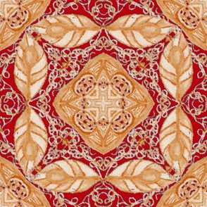 Old Fashioned Faux Carpet in Red and Cream