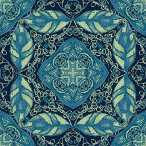 Old Fashioned Faux Carpet in Blue and Ice Green