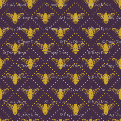 Bees and Dots Purple