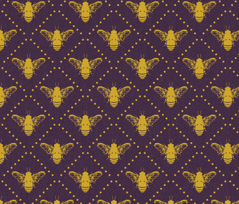 Bees and Dots Purple fabric by tracy_dixon on Spoonflower - custom fabric
