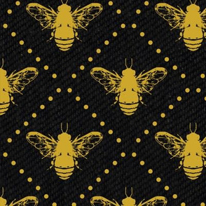 Gold Bees Dots on  Black