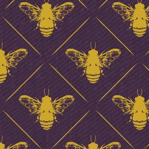Gold Bees Lines on purple