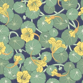 Art Nouveau Nasturtiums Blue Background