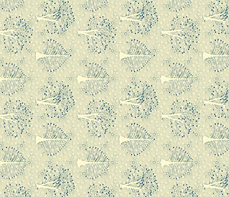 Blue trees and stars fabric by lfntextiles on Spoonflower - custom fabric