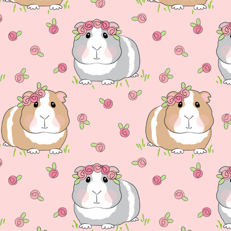 large guinea pigs and roses fabric by lilcubby on Spoonflower - custom fabric