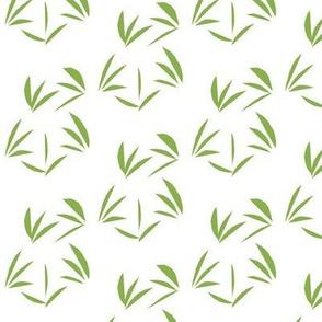 Ferny Green Tussocks on Snowy White