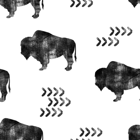 distressed buffalo || b&w fabric by littlearrowdesign on Spoonflower - custom fabric