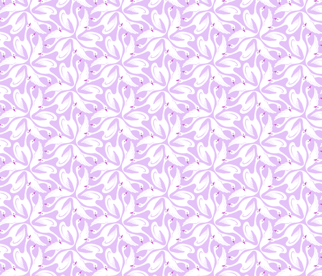 Floral Swans Purple fabric by martzi_patterns on Spoonflower - custom fabric