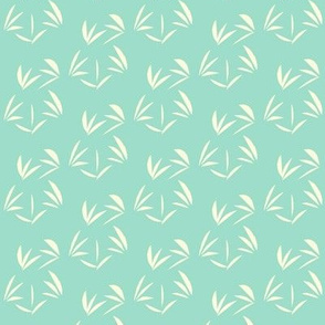 Magnolia Cream Oriental Tussocks on Aqua Pearl -  Extra Small Scale