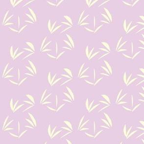 Magnolia Cream Tussocks on Lilac - Medium Scale