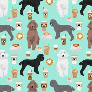 poodles dog coffee fabric cute coffee design poodles aqua