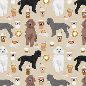 poodles dog coffee fabric cute coffee design poodles khaki