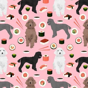 poodles dog sushi fabric cute poodle coats dog colors dog fabric sushi lover blossom pink