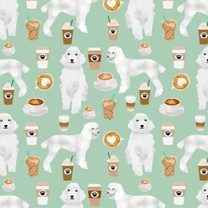 poodles coffee fabric cute white poodle coffee design best coffees and poodles fabrics mint green