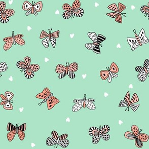 spring butterflies // nature botanical coral and mint girls butterflies spring garden fabric