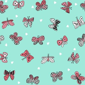 spring butterflies // cute girls pink and mint butterfly fabric spring butterflies design