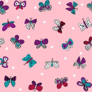 butterflies spring // bright pink purple turquoise butterflies fabric cute girls spring hearts design butterflies
