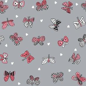 spring butterflies //grey and pink botanical nature fabric girls spring hearts butterflies design