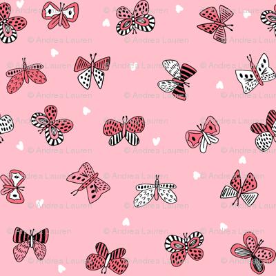 spring butterflies // pink spring nature botanical print girls butterfly fabric
