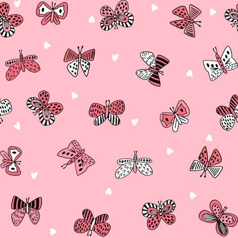 spring butterflies // pink spring nature botanical print girls butterfly fabric fabric by andrea_lauren on Spoonflower - custom fabric