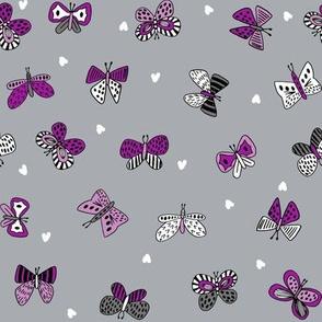 spring butterflies // grey and purple butterflies fabric cute nature botanical prints