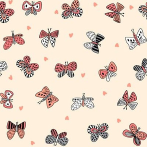 spring butterflies // coral and yellow girls flutterby fabric cute butterfly design best butterflies fabric