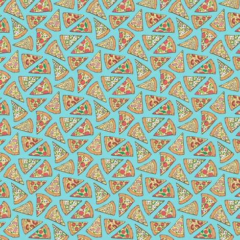 Pizza Fast Junk Food on Blue Tiny Small fabric by caja_design on Spoonflower - custom fabric