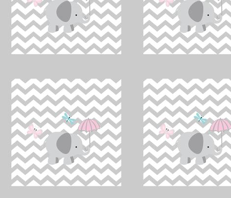 Chevron Elephant QUILT square 12 - light gray fabric by drapestudio on Spoonflower - custom fabric