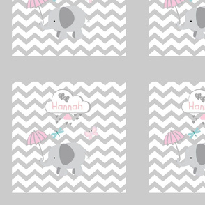 Chevron2  Heart Shower QUILT square 12 - light gray-Personalized HANNAH