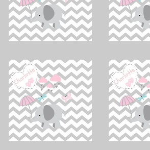 Chevron2  HeartDoodle  Shower QUILT square 12 - light gray Personalized CHARLOTTE