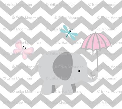 Chevron Elephant 4- light gray