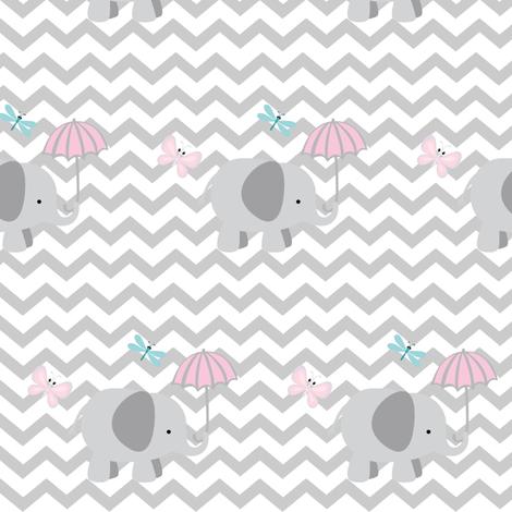 Chevron Elephant 4- light gray fabric by drapestudio on Spoonflower - custom fabric