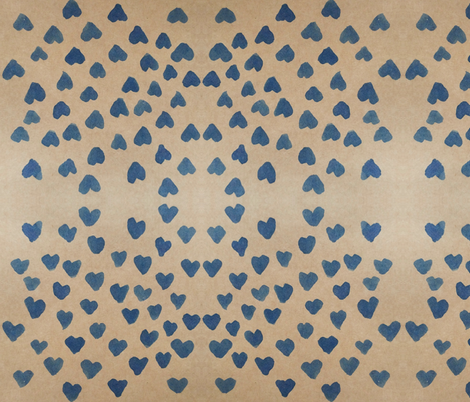 Blue Ink Hearts fabric by ohtalulah on Spoonflower - custom fabric