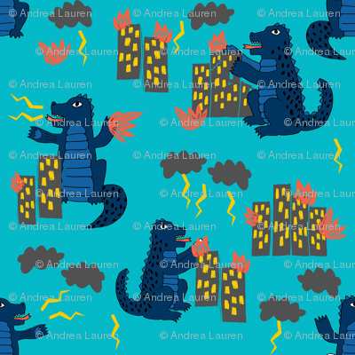 Godzilla Monster Scary Kids Blue Navy Turquoise Navy