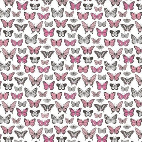 Butterflies Butterfly Nature Fabric Black & White Pink Tiny Small