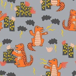 godzilla // scary monster fabric godzilla design scary destruction fire apocalypse horror movie