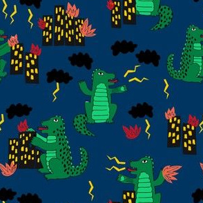 godzilla // navy blue godzilla scary movie fabric fire destruction kids funny fabric