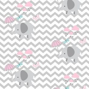 Gray Elephant - Chevron  Heart Shower 4- light gray