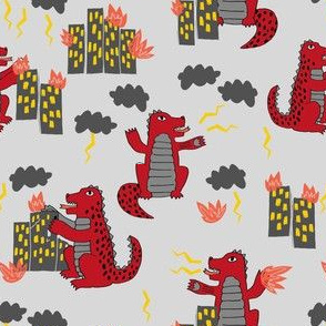 godzilla // red and grey fabric kids monsters scary design scary kids monster fabric