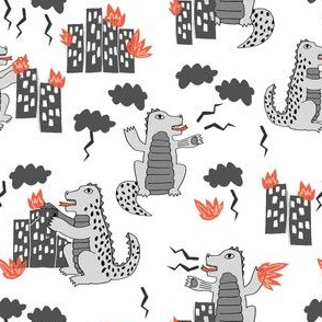 godzilla // white grey scary monster fabric funny kids design godzilla horror film scary monsters