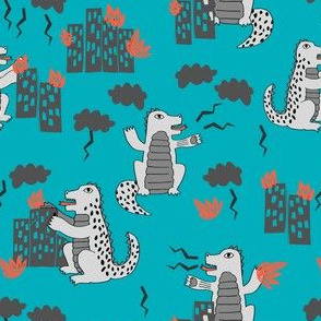 godzilla // turquosie and grey godzilla fabric funny kids design scary movie monsters fabric