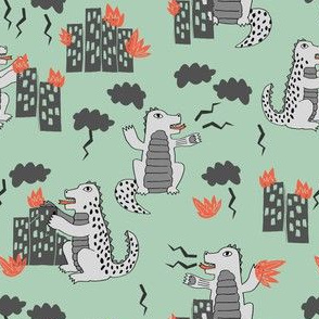 godzilla // mint and grey godzilla scary fabric monsters design scary kids movie design