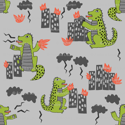 godzilla // grey and lime monsters fabric scary movie fabric kids scary design monsters